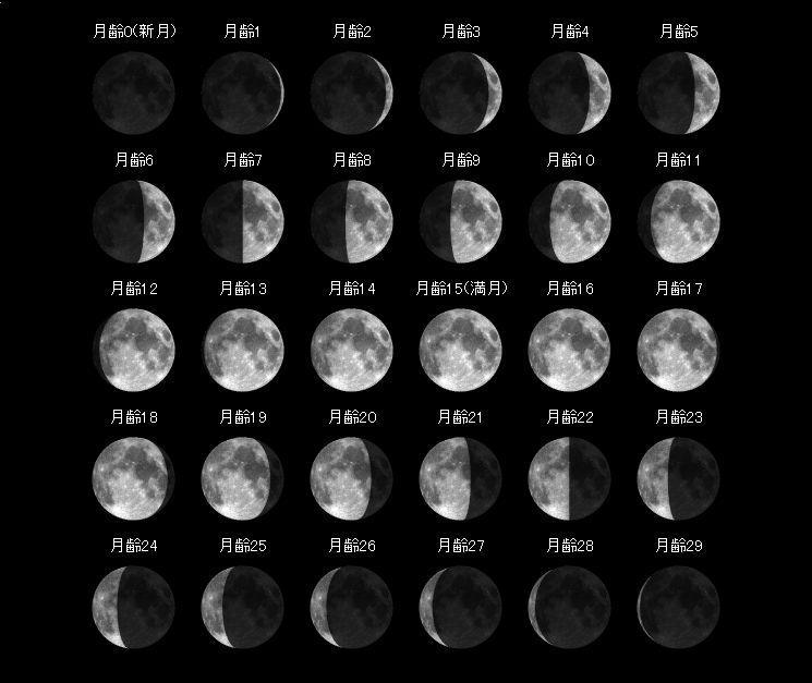 月齢毎の月一覧